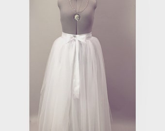 White Wedding Tulle Skirt Adult Tutu Skirt Modern Bridal