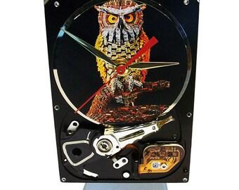 "Hard Drive Clock with Computer Parts ""Wise Owl"" Dial. Got Teacher Gift Clock, Computer Clock, Honeywell Ad Clock, Office Gift Clock?"