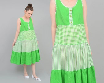 Vintage 70s Lime Green + White Polka Dot Striped Tent Dress 1970s Boho Hippie Full Tiered Midi Dress Small Medium S M
