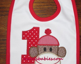 Sock Monkey Bib,  Sock Monkey Birthday Bib, Sock Monkey With Number Bib