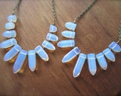 Opalite Spikes Necklace on Long Chain - Glass Stone Points and Chain - Graduated Cute Little Spikes Beads