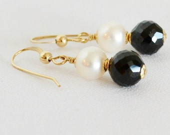Black Spinel  Cultured Freshwater Pearls  Drop Earrings  Black and White Earrings  Top Quality Earrings  Minimalist  Natures Splendour