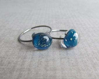 Cyan Sparkle Blue Earrings, Dark Blue Hoops Small, Blue Sparkle Earrings, Oxidized Silver Wire Hoops, Lampwork Hoops Blue, Sterling Silver