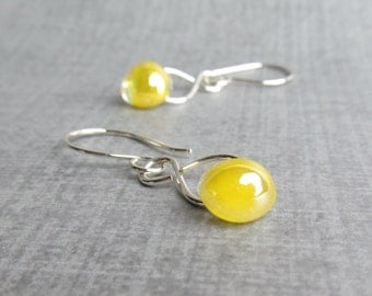 Dichroic Lemon Yellow Dangles Silver, Yellow Earrings, Silver Dangles Yellow Glass, Sterling Silver Earrings, Lightweight Earrings Yellow