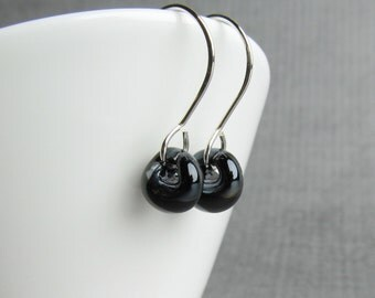 Raven Black Earrings, Black Lampwork Earrings, Small Black Dangle Earrings, Silver Wire Earrings, Black Jewelry, Sterling Silver Earrings
