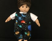 Doll Clothes For Bitty Baby Bitty Twin Bitty Boy Doll or Some Other 15 Inch Dolls Out of This World Space Planets Stars Overalls Shirt