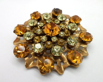 Great Pin Brooch Warm Amber and Light Yellow Colored Rhinestones Brass Metal Big Size