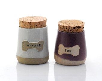 personalized pet Treat Jar handmade ceramic dog Treat Jar