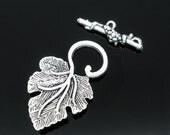 Antiqued Silver Tone Vine Leaf Toggle Clasp