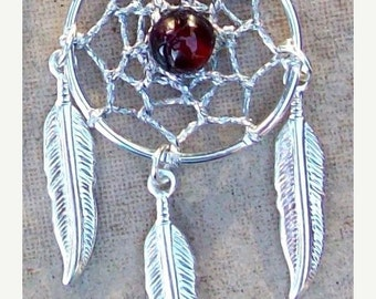 ON SALE BELLA Ii  Dream catcher earrings with round garnet, dream catcher earrings, silver garnet earrings