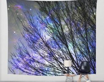 Purple sky wall tapestry/Purple wall tapestry/Forest wall tapestry/Home decor/purple wall decor/Fantasy sky wall tapestry/Space  tapestry