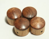 Set of 4 Cherry Guitar Knobs with Burl Redwood Cap (13/16 inch dia x 11/16 height)