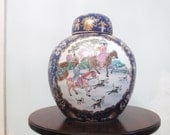 RESERVED FOR RICARD Vintage  Chinoiserie Hollywood Regency  Ginger Jar with Hunting Scene and Floral Border Horses Horsemen Dog Motif