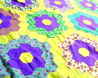 Vintage Patchwork  Yellow Floral Quilt Top