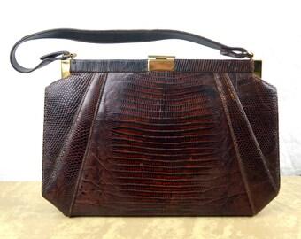 Vintage 1950s Lizard Skin Handbag Purse