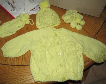 Custom hand knit Baby Sweater set.  You chose color and size