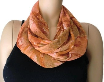 Salmon Chiffon infinity scarf-Chiffon cowl-Dark salmon summer scarves-Instant gratification
