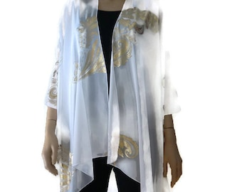 Boho Kimono cardigan -White and gold-Chiffon Ruana cardigan-Gorgeous