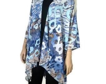 Kimono cardigan - Indigo, periwinkle ,Taupe Floral inspired chiffon kimono-Layering piece-Many colors