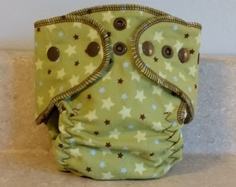 Fitted Preemie Newborn Cloth Diaper- 4 to 9 pounds- Green Stars- 16030
