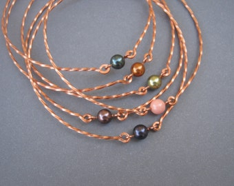 Copper Stacking Bangles - SET of 6 - Twisted Wire with Swarovski Crystal Pearls - Dark Purple, Light Green, Coral Orange - Made to Order -