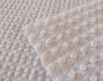 "Vintage Chenille bedspread fabric piece Morgan Jones reversible white popcorn - 24"" x 24"" - 300-33"
