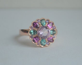14 Kt Rose Gold Round Scalloped 'Marguerite' Ring with Purple Garnet, Lavender Spinel, Tourmaline and Sapphire