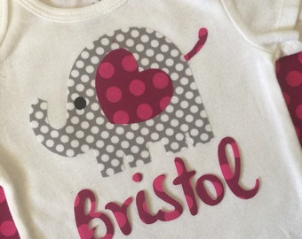 Boutique Personalized Ellie the Elephant Valentine Applique Onesie - Ready to Ship RTS
