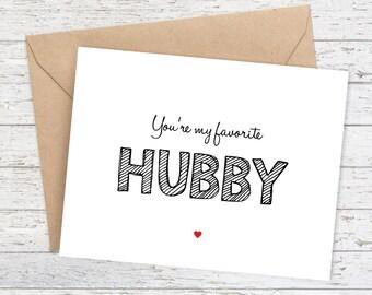 Husband Card - I love you card - Boyfriend Card - Funny Birthday Card - Fun Blank Greeting Card - You're my favorite HUBBY Card