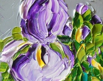 Original Oil PAINTING Lavender Iris Painting