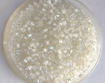 TOHO 11/0 Triangle Beads  - Clear White Lined #981