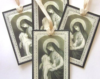 Religious Gift Tag Handmade Holiday Gift Tag Mary and Child