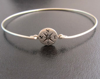 Compass Bracelet, Compass Jewelry, Nautical Jewelry, Ocean Jewlery, Ocean Bracelet, Beach Jewelery, Compass Bangle, Compass Jewlery