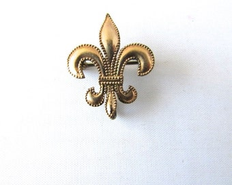 Fleur De Lis Watch Pin Brooch Victorian French Gold Filled Beaded Edge Edwardian