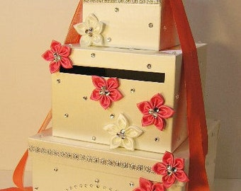 Wedding Card Box Ivory and Coral  Gift Card Box Money Box Holder-Customize your color