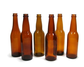 Long Neck Brown Beer Bottles instant collection of SIX bottles