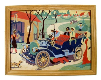 Jalopy Car Paint by Number Antique Auto PBN vintage Painting Family Outing Vintage Wall Art