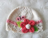 ON SALE! Baby Hat Knitting Knit Baby Hat Knitted Baby Hats Newborn Knitted Hat Cotton Knitted Baby Cloche Baby Hat with Flower and Butterfly