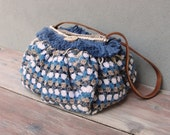 Boho Crocheted Bag Sky Colors Blue, Fringe, Pom poms with Leather and Ceramic