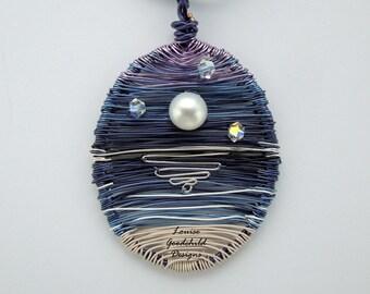 Moonriver pendant, seascape pendant, moonlight necklace, moon jewellery, ocean jewelry, starlight jewellery