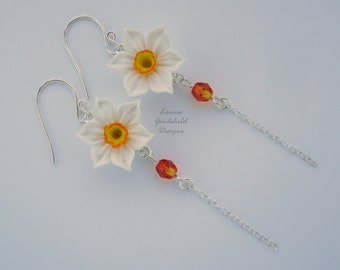 Narcissus Drop earrings, narcissus earrings, daffodil earrings, spring earrings, sterling silver, flower earrings