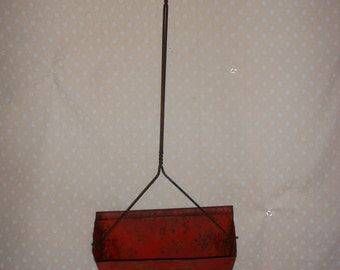Dust Pan Hanging Long Handled Red