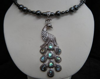 Rhinestone and Abalone Peacock Magnetic Hematite Memory Wire Choker Necklace