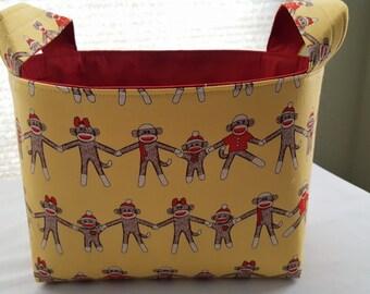 Fabric Organizer Basket Storage Bin Container - Sock Monkey Around Yellow