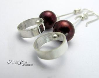 Red Freshwater Pearl Earrings, Long Pearl Earrings, Circle Earrings, Handmade by RiverGum Jewellery