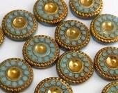 15% OFF SALE Vintage Glass Cabochon RARE 4 pcs 13mm  Gold Turquoise Stones S-31 G