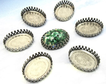 20x15mm Crown Settings 4pc Antique Silver Oval Brass Stamping cabochon M-8