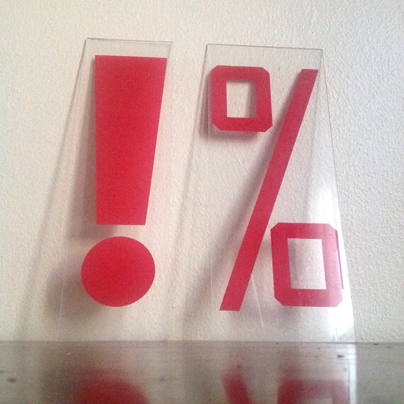 Vintage Plastic Red Percent or Exclamation Sign.