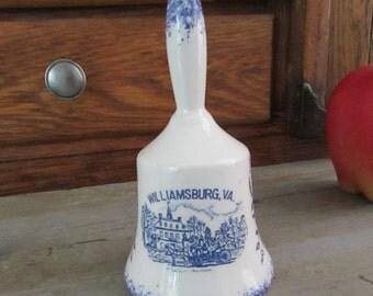 Williamsburg, Virginia Souvenir Bell – Small Ceramic Blue & White Collectible Bell – Vintage Souvenir