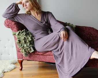 full length robe with bishop sleeve and wrap closure - wool blend womens lounge wear lingerie and sleepwear range - MALLARD - made to order